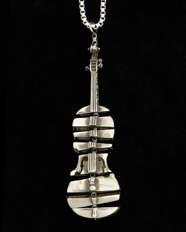 ARMAN - Silver Sliced Violin Pendant